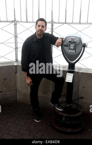 Illusionist David Blaine and President and CEO of Liberty Science Center Paul Hoffman to Light The Empire State - Stock Photo