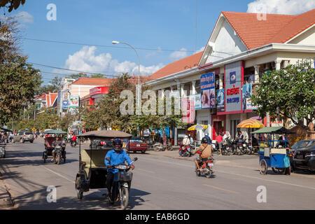 Cambodia, Siem Reap Street Scene. - Stock Photo