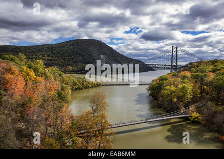 View of Popolopen Creek feeding into the Hudson River, Bear Mountain, New York, USA - Stock Photo
