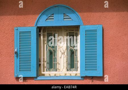 Colonial house facade, Saint Louis ,Senegal - Stock Photo