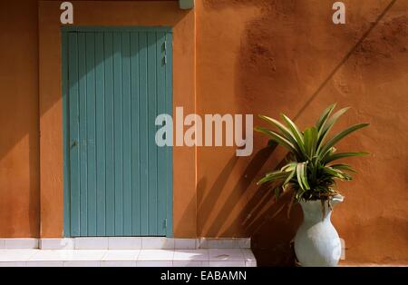 Colonial house facade, Saint Louis, Senegal, West Africa - Stock Photo