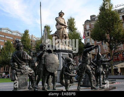 Rembrandt Statue at Rembrandtplein, inner city of Amsterdam The Netherlands. In front the Night Watch bronze 3D - Stock Photo