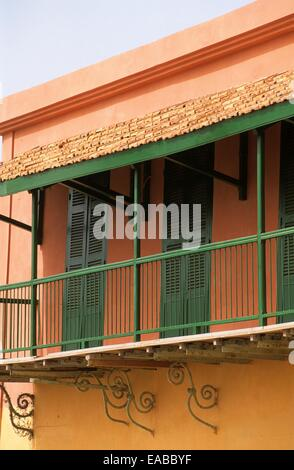 Colonial house facade, Saint Louis, Senegal, Africa - Stock Photo