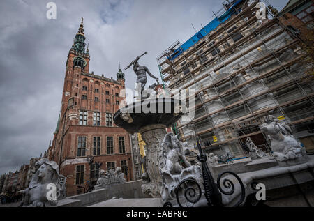 Neptune Fountain and Main Town Hall building on famous Dlugi Targ Street (polish: Long Market) on Old Town of Gdansk, - Stock Photo