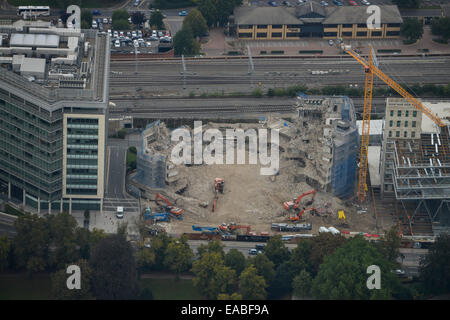 An aerial view of building demolition in Reading - Stock Photo