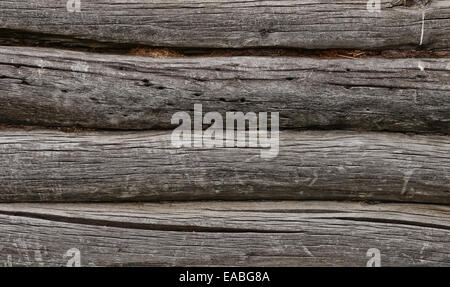Close up of very old log wall - Stock Photo