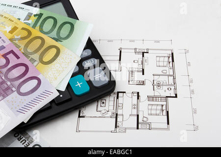 real estate concept with a 100, 200 and a 500 Euro bill (EUR). - Stock Photo