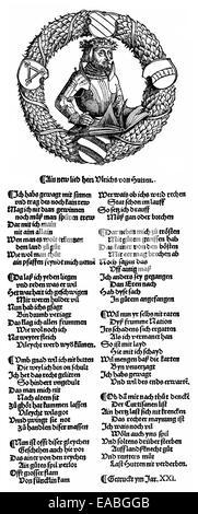 1521, a portrait and a song of Ulrich von Hutten, 1488 - 1523, humanist,  Holzschnitt von 1521, Portrait und Lied - Stock Photo
