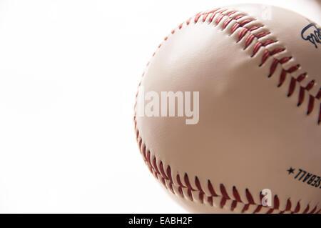 Baseball stitching white background - Stock Photo