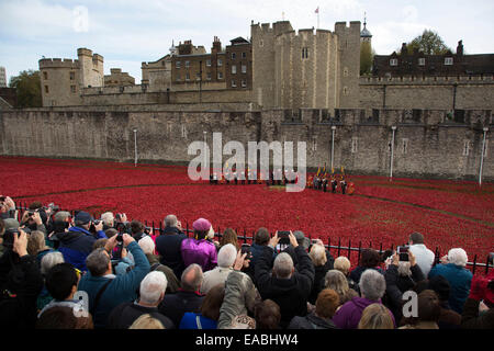 London, UK. 11th November, 2014. Crowds gather on Armistice Day to see the final poppy planted at the Tower of London, - Stock Photo