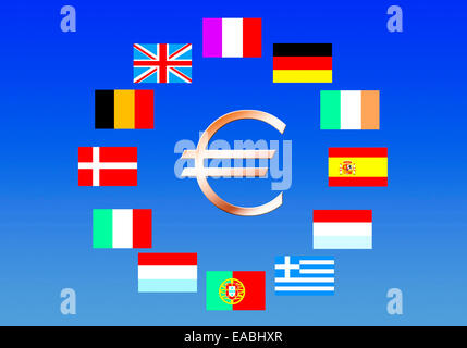 EU-Flags of the 12 founding countries with Euro Symbol - Stock Photo