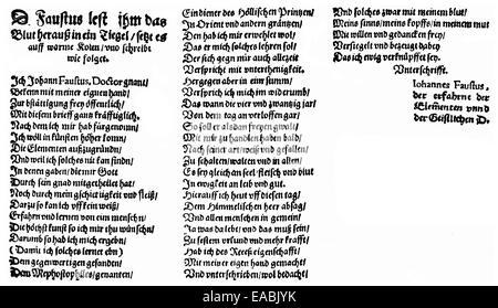 Historic print, 1587, text from the Faust chapbook, Historische Druck, 1587, Text aus dem Volksbuch Faust - Stock Photo