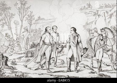 Meeting between Napoleon I and Francis II of Austria, 1805.  Napoleon Bonaparte, 1769 – 1821. - Stock Photo