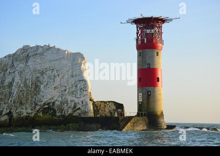 The Needles and Needles Lighthouse, Isle of Wight, England, United Kingdom - Stock Photo