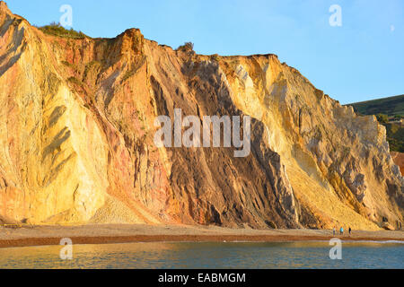 Multi-coloured sand cliffs, Alum Bay, Isle of Wight, England, United Kingdom - Stock Photo