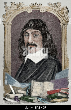 Rene Descartes (1596-1650). French philosopher. Engraving by Rousseau. Colored. - Stock Photo