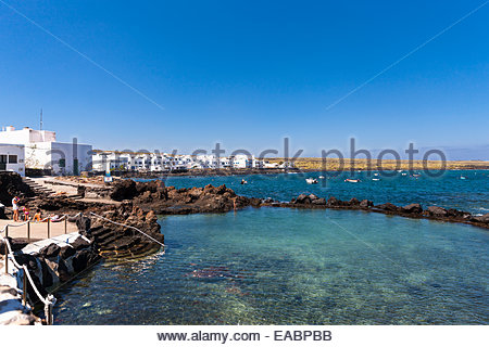 Spain Canary Islands Lanzarote Punta Mujeres Fishing village Arrieta - Stock Photo