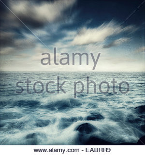 Spain, Canary Islands, La Palma, Puerto Naos, sea surf - Stock Photo