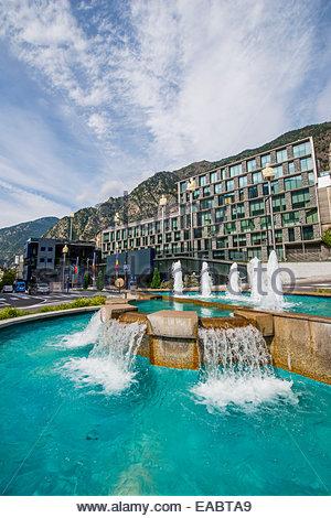 Andorra Andorra la Vella fountain at Parliament building - Stock Photo