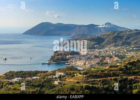 Panoramic view of the Aeolian islands Lipari and Vulcano - Stock Photo