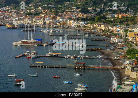 Panoramic view of the city of Canneto at Lipari island - Stock Photo