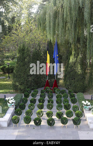 Beijing, China. 11th November, 2014. Photo taken on Nov. 11, 2014, shows wreaths laid by senior diplomats and military - Stock Photo