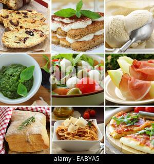 collage menu Italian food pyramid (desserts, salads, pizza and pasta) - Stock Photo