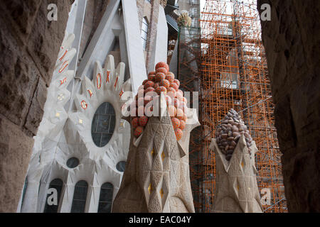 New facade of the Sagrada Familia under construction with finished finials in Barcelona, Catalonia, Spain. - Stock Photo