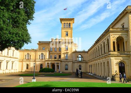 The entrance facade, Osborne House, East Cowes, Isle of Wight, England, United Kingdom - Stock Photo