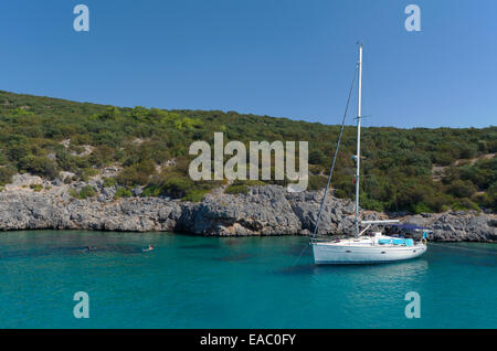 Yacht moored in the mediterranean - Stock Photo