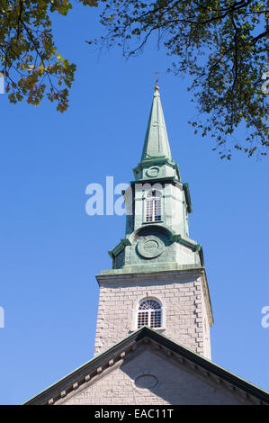 The spire of Holy Trinity Anglican Cathedral, Quebec City, Quebec, Canada - Stock Photo