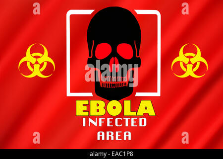 Warning Flag - Ebola Outbreak - Infected Area.  Biohazard warning of an Ebola infected area. - Stock Photo