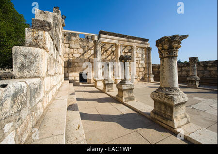 The ruins of the synagogue in the small town Capernaum on the coast of the lake of Galilee. - Stock Photo
