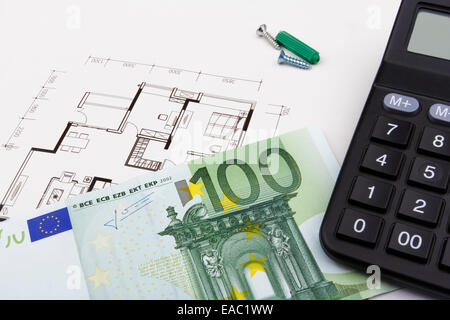 Construction concept with a 100 Euro bill, a blueprint and a caculator. - Stock Photo