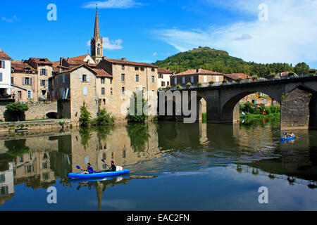 St Antonine Antonin Aveyron River Gorges Lot Department Midi-Pyrenees South West France EU European Union Europe - Stock Photo