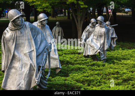 The Korean War Veterans Memorial is located in Washington, D.C.'s West Potomac Park, southeast of the Lincoln Memorial - Stock Photo
