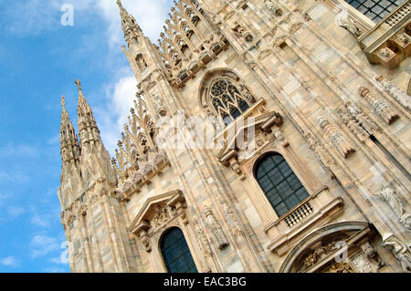 Italy, Lombardy, Milan,  Duomo Cathedral, Detail Facade. - Stock Photo