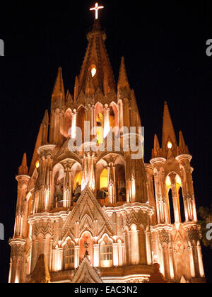 Spire of Old Church at Night - Stock Photo