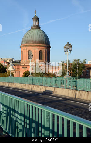 Pont Saint Pierre Bridge over the Garonne River & the Landmark Dome of Saint Joseph Chapel Toulouse France - Stock Photo