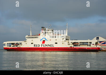Red Funnel car ferry leaving East Cowes for Southampton, East Cowes, Isle of Wight, England, United Kingdom - Stock Photo
