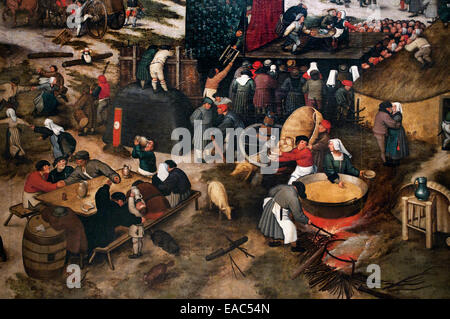 The Carnival village with a theater and a procession - Pieter Brueghel ( Bruegel ) the Younger 1616-1647 Flemish - Stock Photo