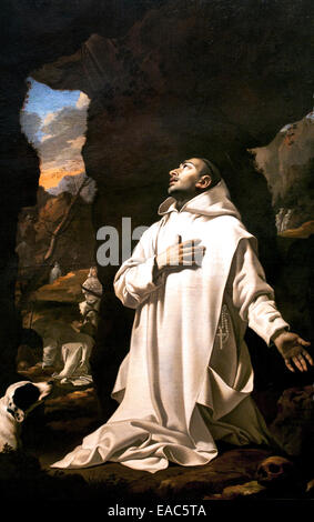Saint Bruno dans le désert - in the Desert 1638 Nicolas Mignard 1606-1668 France French - Stock Photo