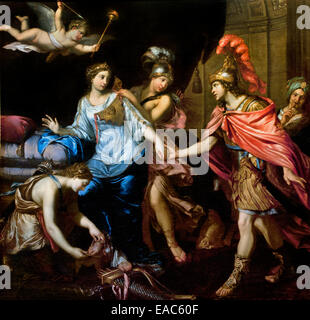Paris Meet Alexander the Great and Queen of the Amazons Thalestris 1660 Pierre Mignard (1612–1695) France French - Stock Photo