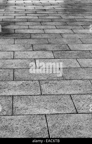 Black and white view of a tiled floor - Stock Photo