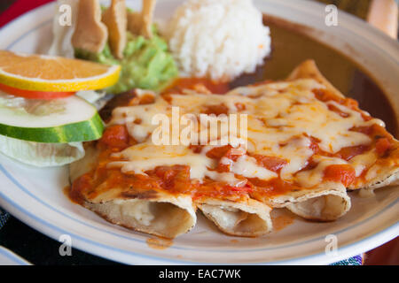 Enchiladas with cheese and tomato - Stock Photo