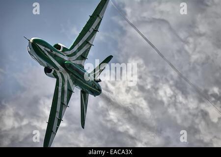 BAe Hawk Mk65 of the Saudi Hawks Display team in flight. Front under view - Stock Photo