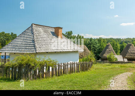 Old Romanian Village View In The Carpathian Mountains - Stock Photo
