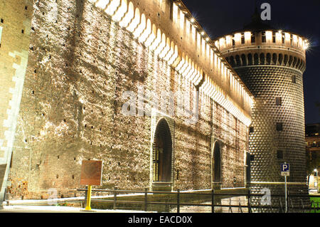 Italy, Lombardy, Milan, Castello Sforzesco, Sforza Castle, Tower - Stock Photo