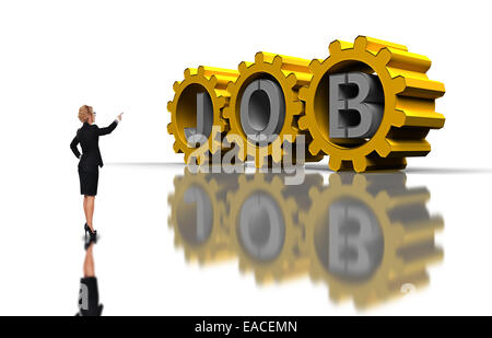 businesswoman pointing to big gold gears with silver job text - Stock Photo