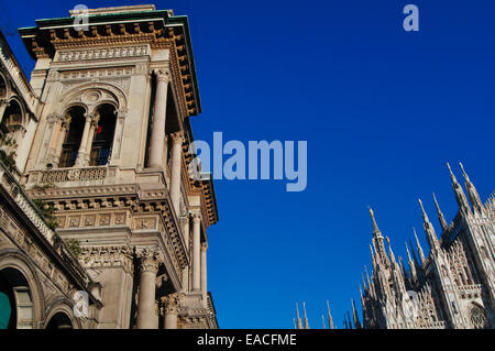 Italy, Lombardy, Milan, Galleria Vittorio Emanuele background Duomo Cathedral - Stock Photo